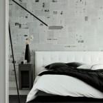 обои для спальни под газеты